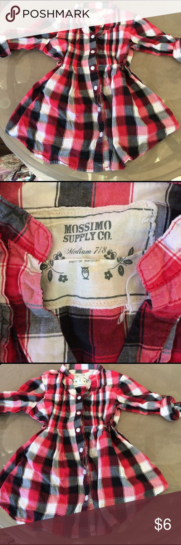 Red black & white half sleeve plaid shirt Really cute little girls plaid shirt size medium or 7/8 . Never warn. Make offer Mossimo Supply Co. Shirts & Tops Button Down Shirts