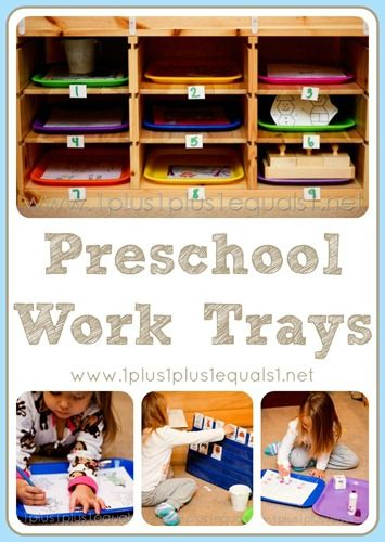 Work Trays - I like this for organizing grouped theme work or centers