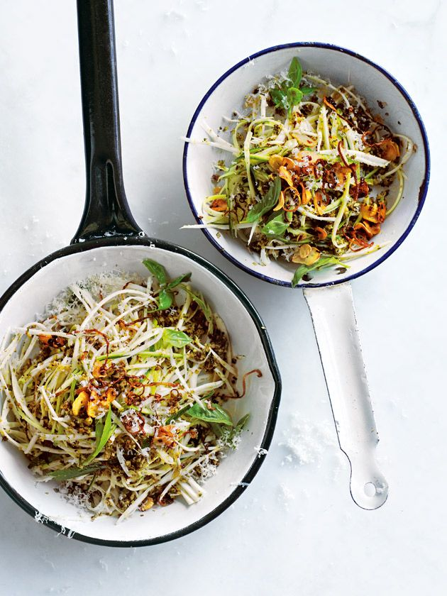 donna hay recipe from Life in Balance zucchini, parsnip and celeriac pasta with broccoli sauce