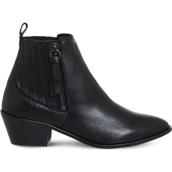 Office Luca leather Western boots ($62) ❤ liked on Polyvore featuring shoes, boots, ankle booties, genuine leather boots, cuban heel boots, real leather boots, leather ankle boots and ankle boots
