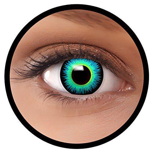 """FXEYEZ® Farbige Kontaktlinsen blau """"Serapphin"""" + Linsenbehälter, weich, ohne Stärke als 2er Pack - angenehm zu tragen und perfekt zu Halloween, Karneval, Fasching oder Fasnacht"""