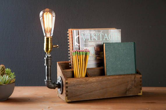 Desk organizer lamp/Rustic decor/Steampunk Table lamp/Industrial lamp/Steampunk light/housewarming gift/gift for men/desk accessories Active ☆CRAFTSMEN NOTES: Industrial Rustic desk organizer Edison lamp. This is a Fantastic piece! Desk lamp features beautiful brass corner