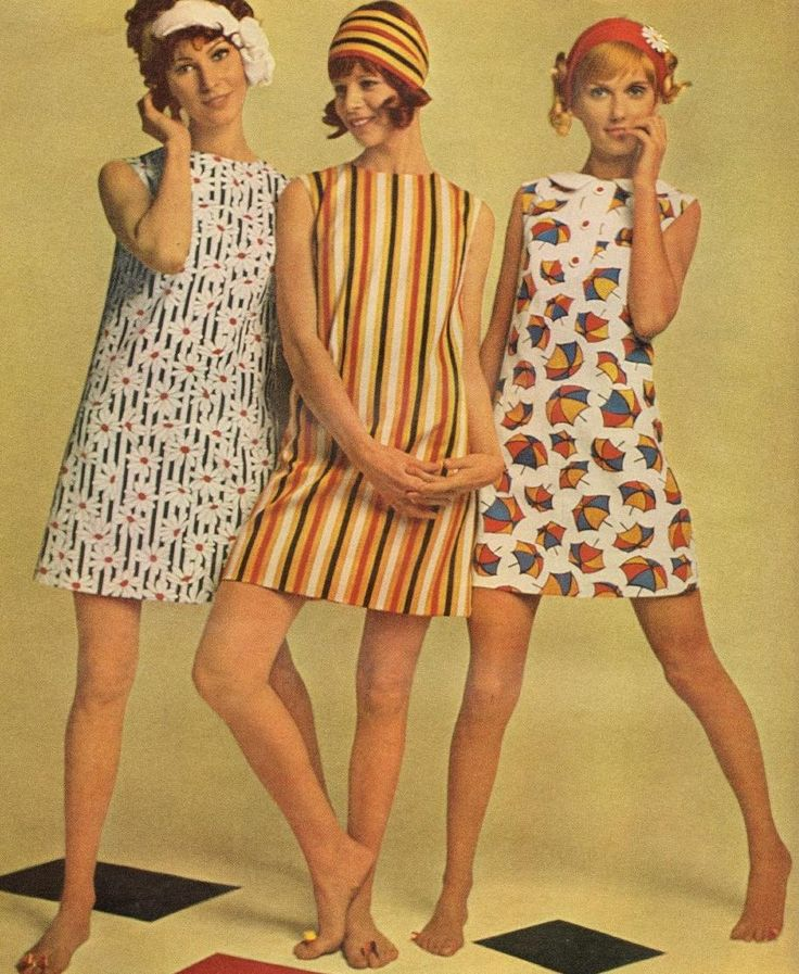 "Simple A-line shift dresses were a hallmark of the '60s ""Swinging London"" look. It was all about the prints and the legs, though I had no idea, somehow, that wearing my naturally curly hair was even a possibility."