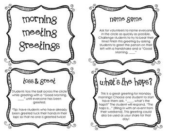 MORNING MEETING GREETING CARDS FREEBIE - TeachersPayTeachers.com