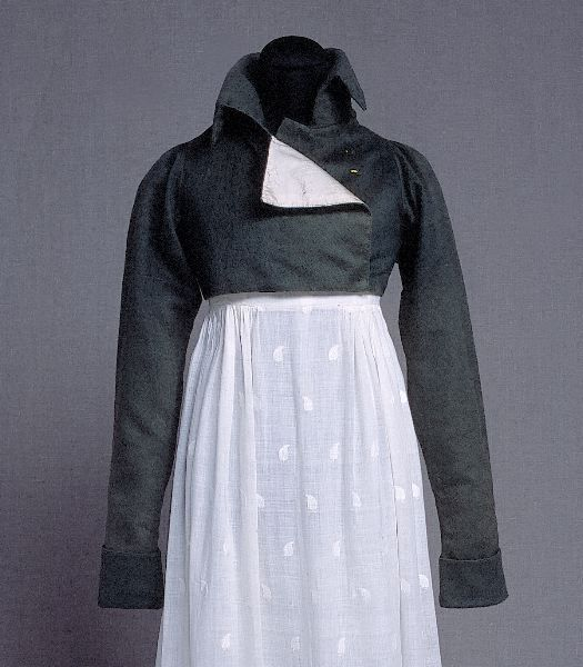 Spencer, 1815-20.  I want to know more about the dress underneath it though!  It's paisley patterned muslin!