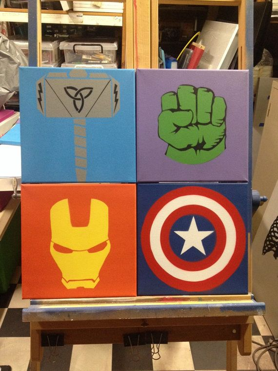 Avengers Spray Paint Pop Art Graffiti on Canvas Set by