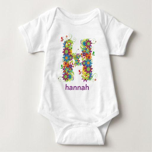 Floral Alphabet Name Baby Tee (Monogram H)