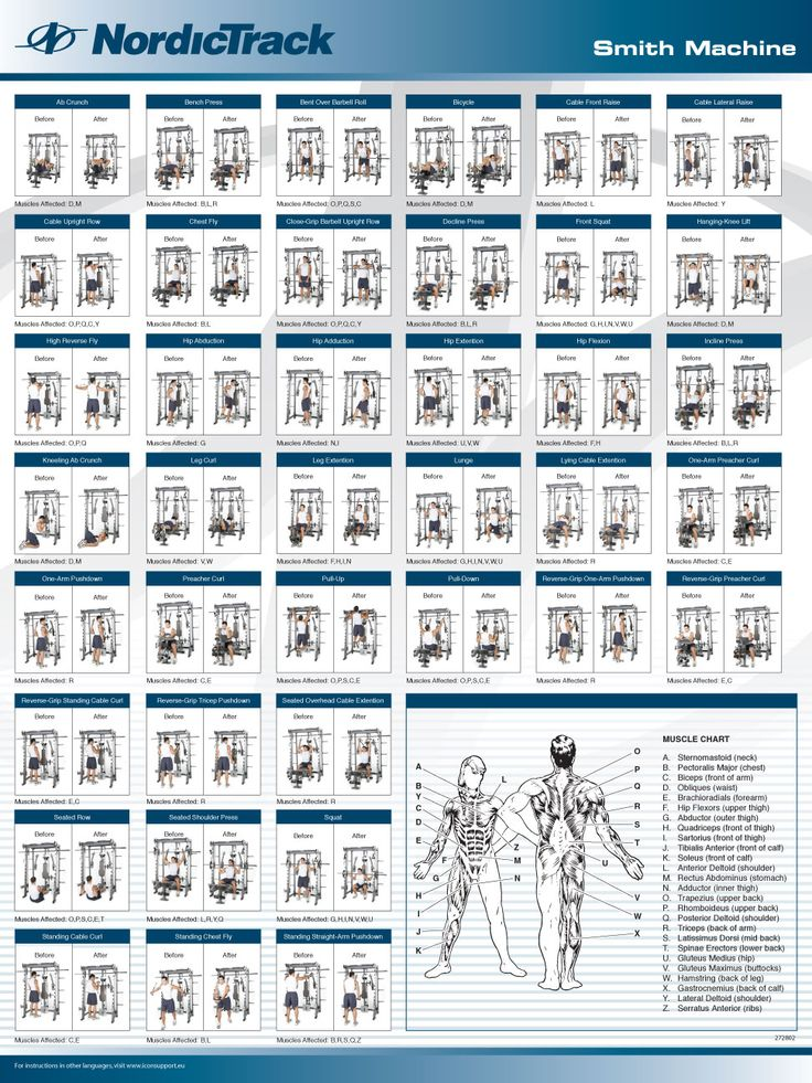 Nordictrack E8200 Smith Machine Exercise Chart | Exercise ...