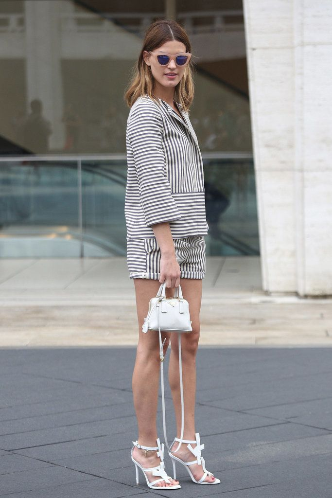 We're obsessed with Hanneli's stripes on stripes for a chic Fourth of July look