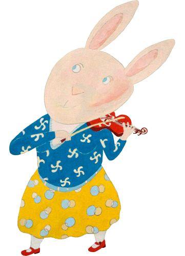 rabbit playing violene