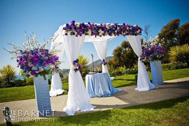 Purple wedding ceremony decor colorful wedding for Wedding ceremony decorations