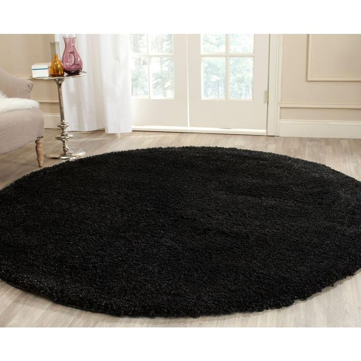 California Shag Black 6 ft. 7 in. x 6 ft. 7 in. Round Area Rug