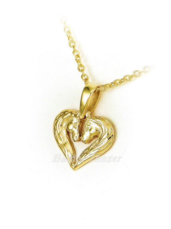 14K Gold 2Horse heart pendant by BaldorJewelry on Etsy