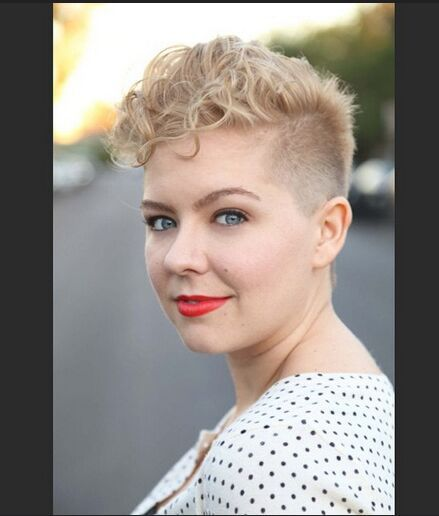 Shaved Short Haircut with Curly Hair. Lots of great short cuts here but I especially love this one.