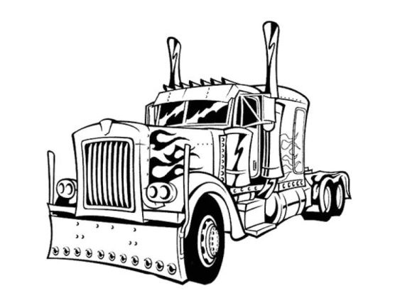 Optimus Prime Coloring Page Transformers Coloring Pages Truck Coloring Pages Cars Coloring Pages