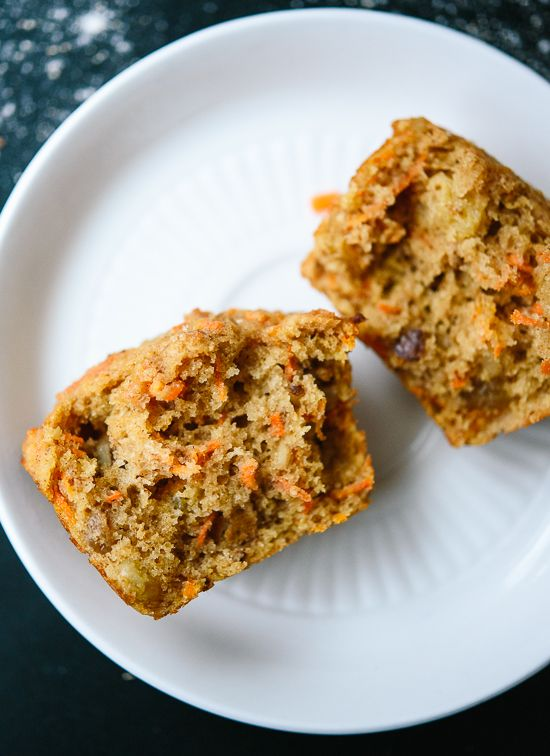 Healthy carrot muffins made with whole wheat flour, coconut oil and maple syrup! They taste amazing, too. These muffins make a great, quick breakfast!