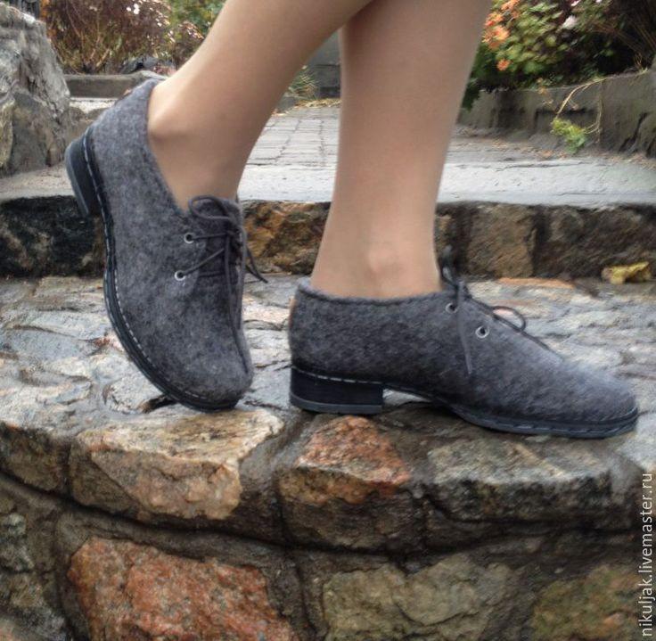 """Купить Туфли валяные """"Grey"""" - серый, серые туфли, туфли женские, туфли валяные"""