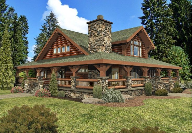 Log Cabin With Wrap Around Porch Roof – home