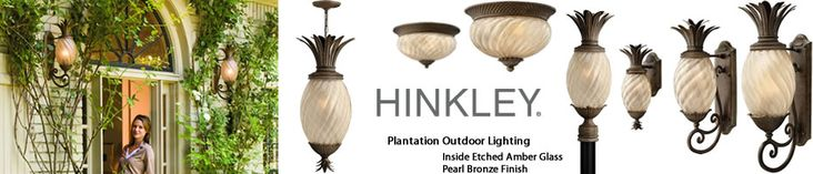 A traditional symbol of hospitality, the pineapple motif is beautifully realized in the Hinkley Plantation Collections. Hinkley Lighting's Plantation Outdoor Lighting Collection includes path lights, wall lanterns, pendants, post and ceiling lights in a choice of Copper Bronze with Clear Optic Glass or Pearl Bronze with Inside Etched Amber Optic Glass. - Call Brand Lighting Sales 800-585-1285 to ask for your best price!