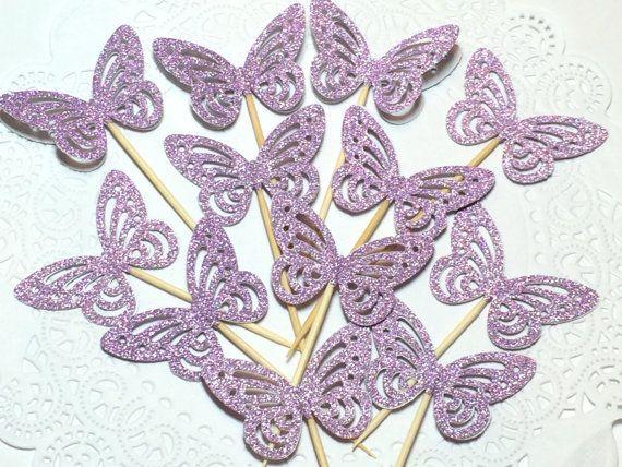 12 Purple Butterfly cupcake toppers Glittery purple by Lufianti