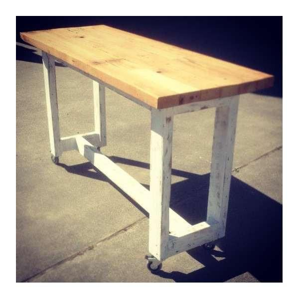 Industrial Recycled Retro High Bench Table In White Timber With