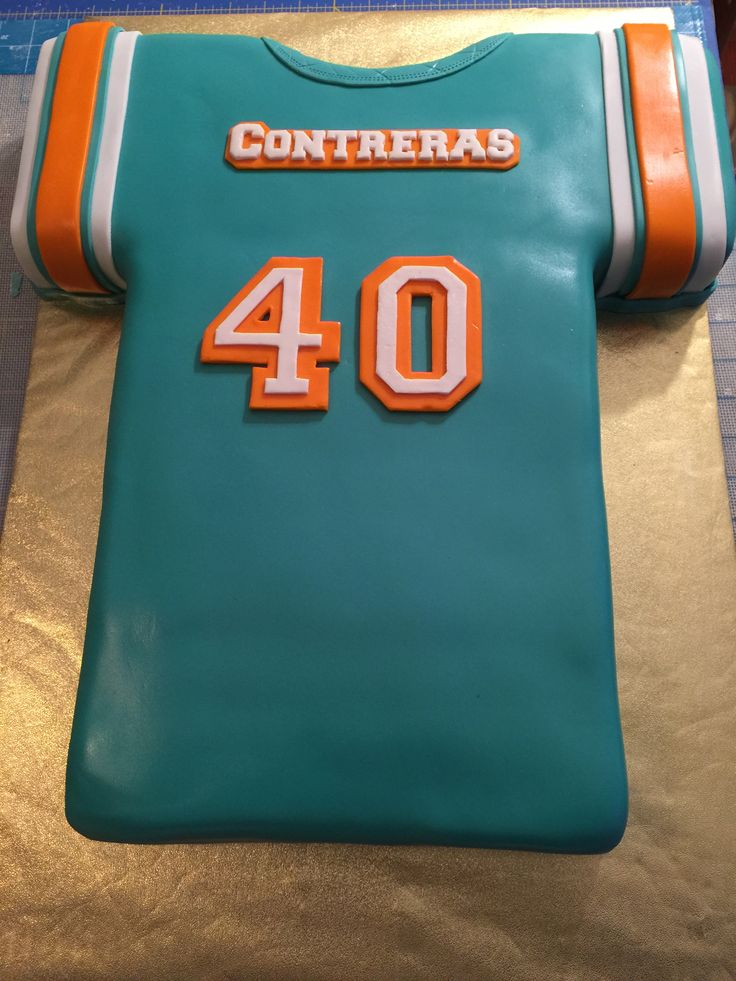 """Miami Dolphins Jersey"" cake"