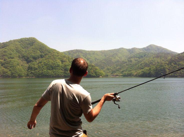 Fishing at Gwangju lake.