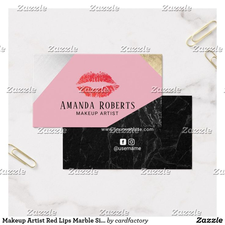 makeup artist cover letters%0A Makeup Artist Red Lips Marble Silver Gold Pink Business Card