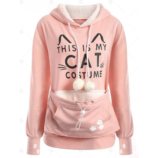 Pink XL Plus Size Cat Holder Pouch Pocket Hoodie (52 BRL) ❤ liked on Polyvore …