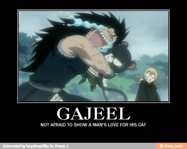 My happiest Fairy Tail moment was legit when Gajeel finally got a cat... :3 #fairy tail
