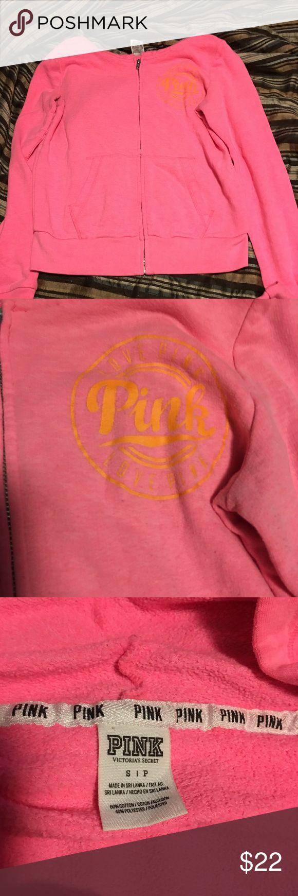 Victoria Secret pink zip up hoodie with pockets Pink zip up hoodie with pockets. In gently used condition. Size small...Smoke free home PINK Tops Sweatshirts & Hoodies