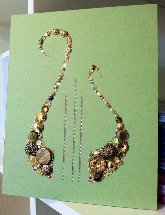 Alpha Chi Omega Lyre Button Art made from buttons and Swarovski Crystals…