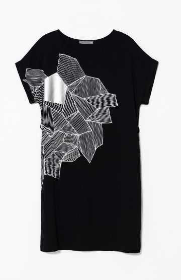 The Skitse Bamboo Dress in Black/White/Silver Foil by Elk The Label