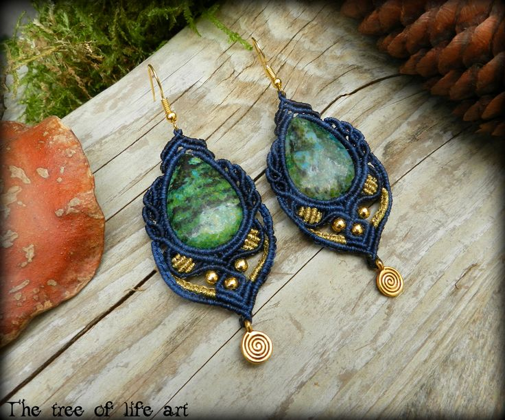 Macrame earrings with Chrysocolla stones