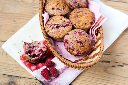 Healthy Berry Muffins With Wholemeal Flour, Baking Powder, Ground Cinnamon, Bananas, Olive Oil, Eggs, Low-fat Milk, Low Fat Plain Yoghurt, Maple Syrup, Frozen Raspberries