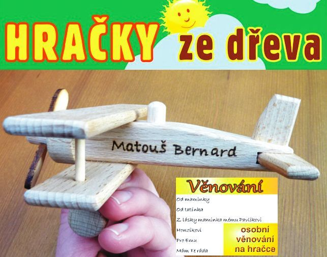Lietadlá hračky s osobním venovanim