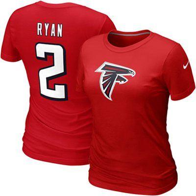 Nike+Matt+Ryan+Atlanta+Falcons+#2+Women's+Name+&+Number+T-Shirt+-+Red