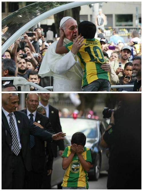 "Ahh this photo still makes my heart full. The little boy in Brazil who broke through the barriers to tell Papa F that he wanted to become a priest. ""I'm right there with you young man!"" :') Brazil is more than just soccer, forests and carnival."