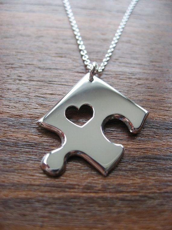 Silver Jigsaw Puzzle Piece Necklace Pendant by GorjessJewellery, £42.00