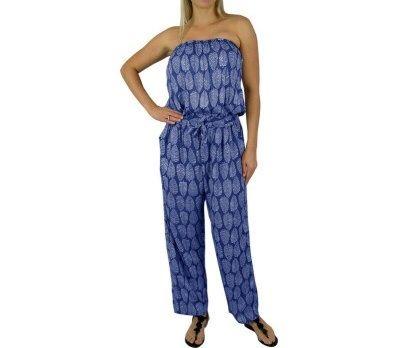 I'm selling Long Navy Jumpsuit Elastic Waist 2 sizes Leaf Print - A$59.95 #onselz