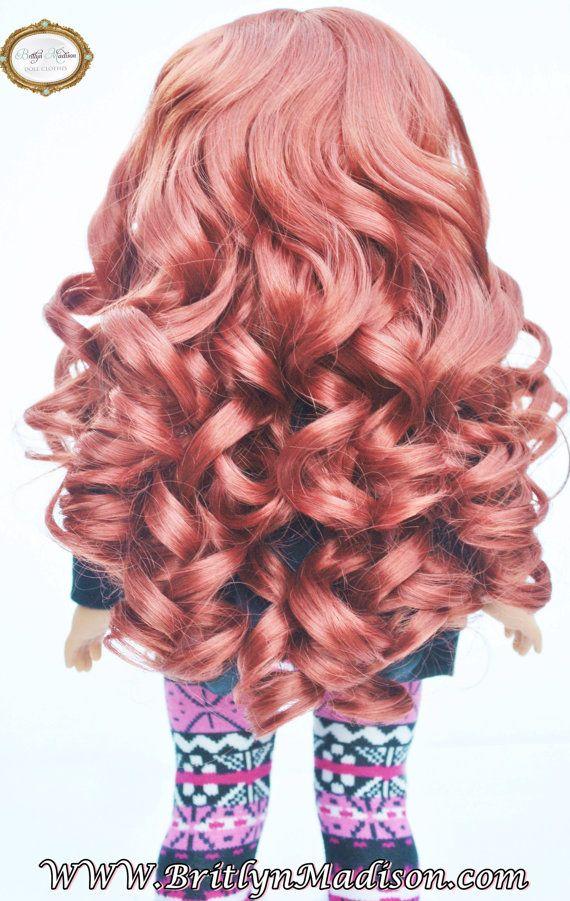 "Personalizados ""Rizos Ginger"" rojo largo Auburn American Girl Doll tamaño peluca 10-11"