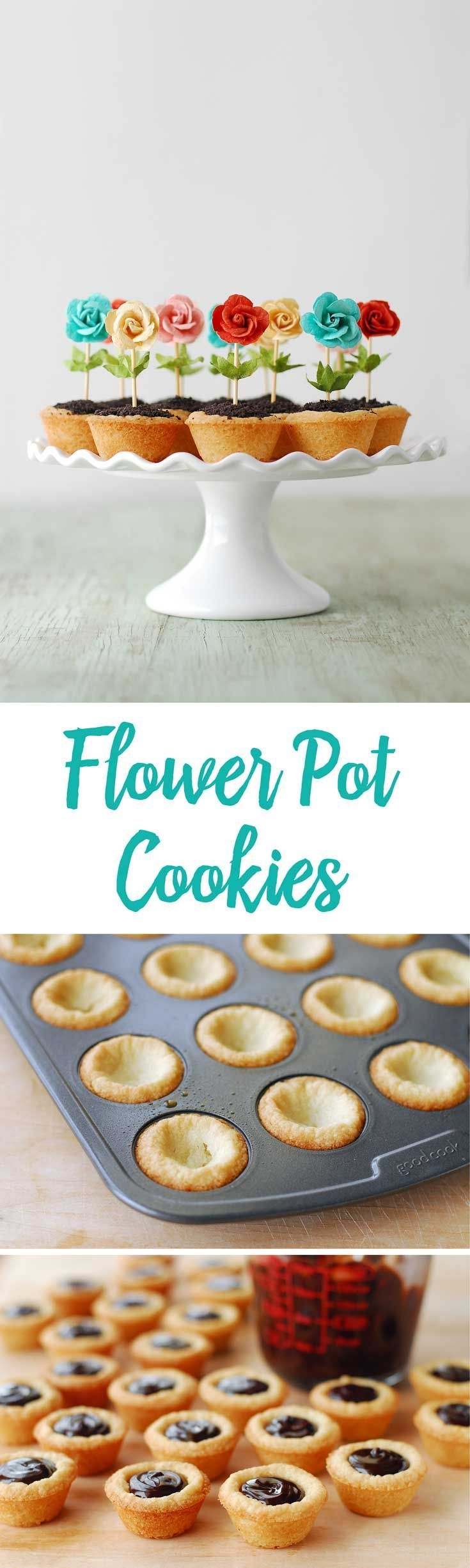 These Flower Pot Cookies are perfect for spring! The bright colors pop and the easy recipe makes them a fun party idea. The cookies cups are filled with chocolate ganache and cookie crumbs!