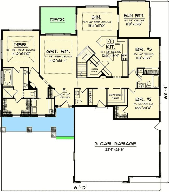 Plan 89852ah craftsman ranch with sunroom craftsman for Ranch house plans with sunroom