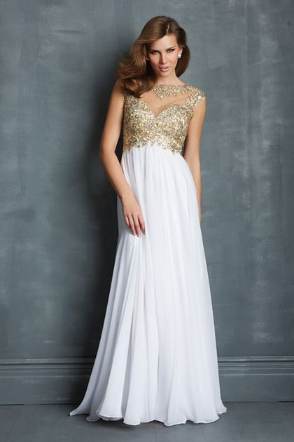 2014 Scoop Neckline Off The Shoulder Prom Dresses White Chiffon Mesh Illusion custom color