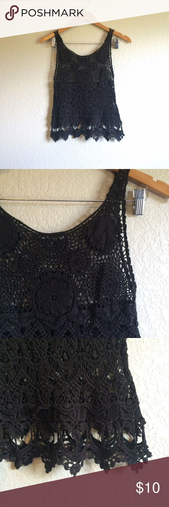 Double Zero • Tank This pretty black crochet tank has a slightly cropped look and looks great layered. There are a couple of tiny imperfections (loose threads) not noticeable when worn. Double Zero Tops Tank Tops