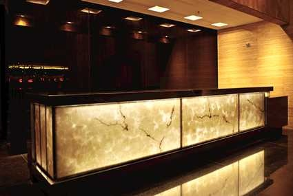 The elegant Front Desk at the Hilton Bogota hotel in Colombia