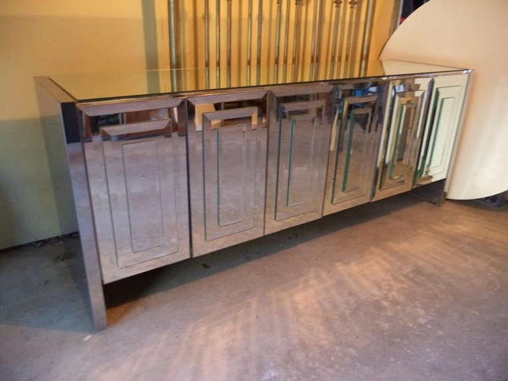 Mirrored Credenza by Ello | From a unique collection of antique and modern credenzas at https://www.1stdibs.com/furniture/storage-case-pieces/credenzas/  - what about mirrored? It means we would put the mirror somewhere else but this is definitely glam? too much or ok?