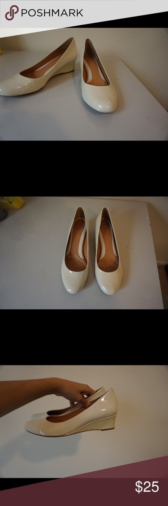 Nurture Cream wedges Gently used wedges that are in great condition! Nurture by Lamaze Shoes Wedges