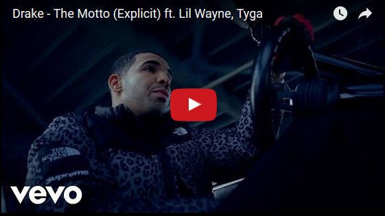 Watch: Drake - The Motto (Explicit) ft. Lil Wayne, Tyga See lyrics here: http://drakelyric.blogspot.com/2016/04/the-motto-lyrics-drake-feat-lil-wayne.html #lyricsdome