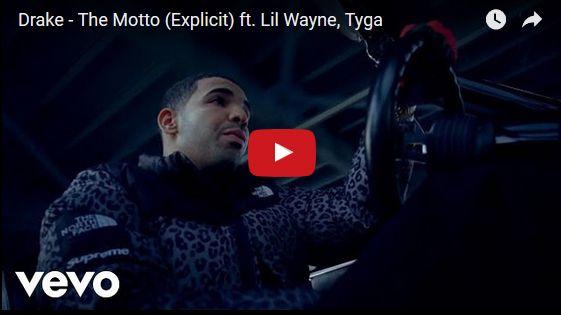 Watch: Drake - The Motto (Explicit) ft. Lil Wayne, Tyga See lyrics here: http://drakelyric.blogspot.com/2016/04/the-motto-lyrics-drake-feat-lil-wayne.html #lyricsdome